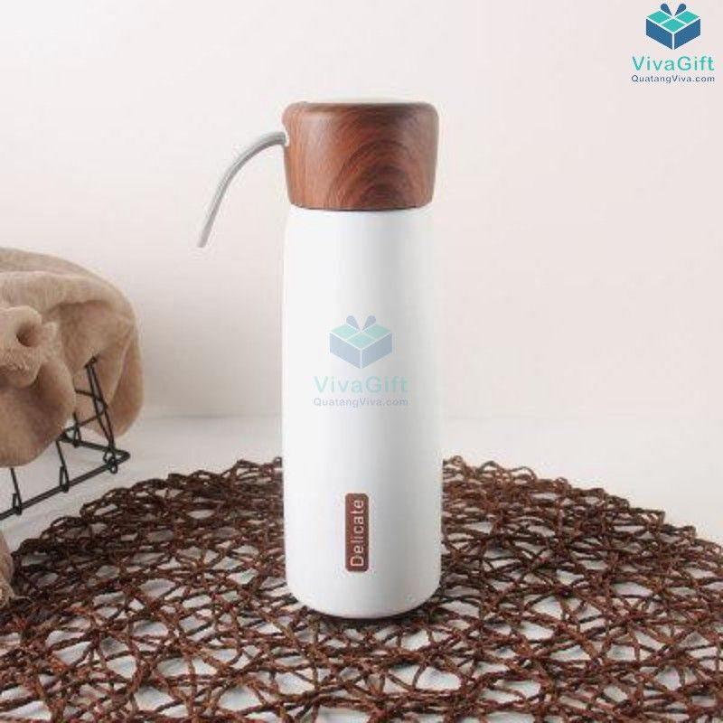 Bình giữ nhiệt nắp gỗ Delecate 500ml Q033 khắc làm quà tặng