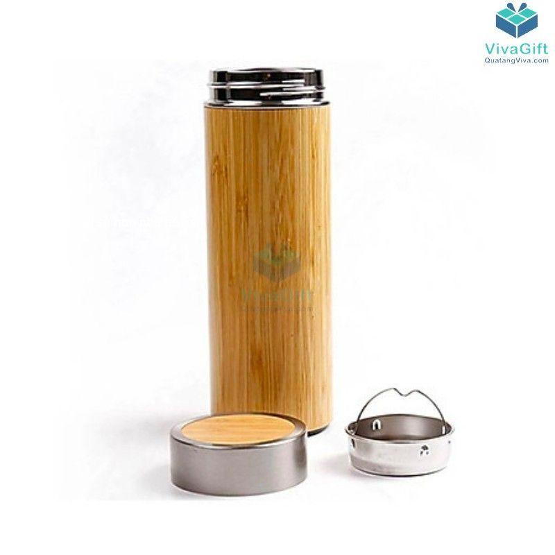 Bình giữ nhiệt vỏ tre 450ml Q104 khắc tên theo yêu cầu
