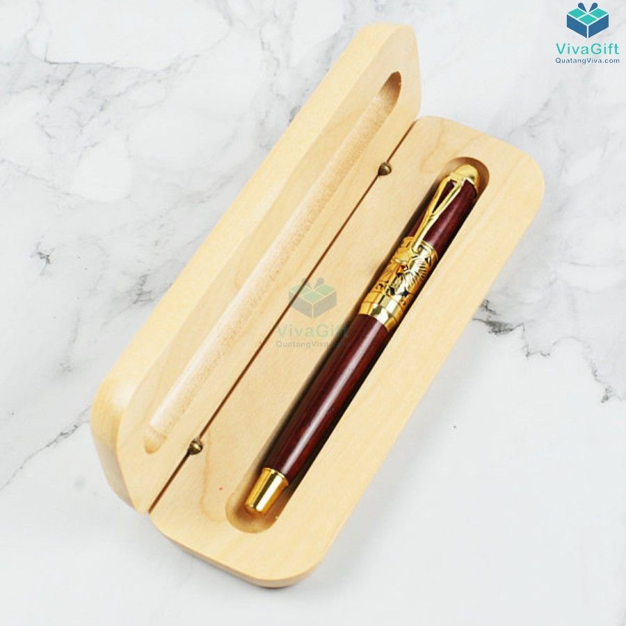 Hộp bút gỗ quà tặng HV01 khắc tên theo yêu cầu