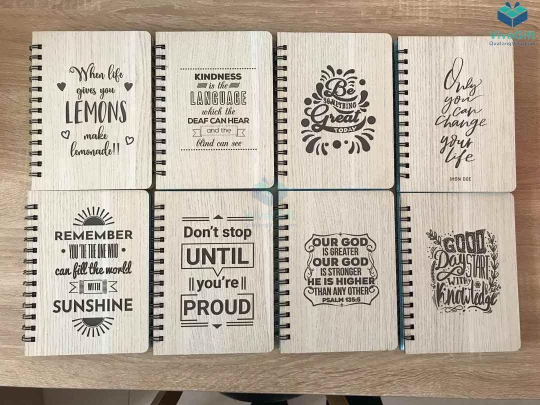 Sổ tay bìa gỗ làm quà tặng