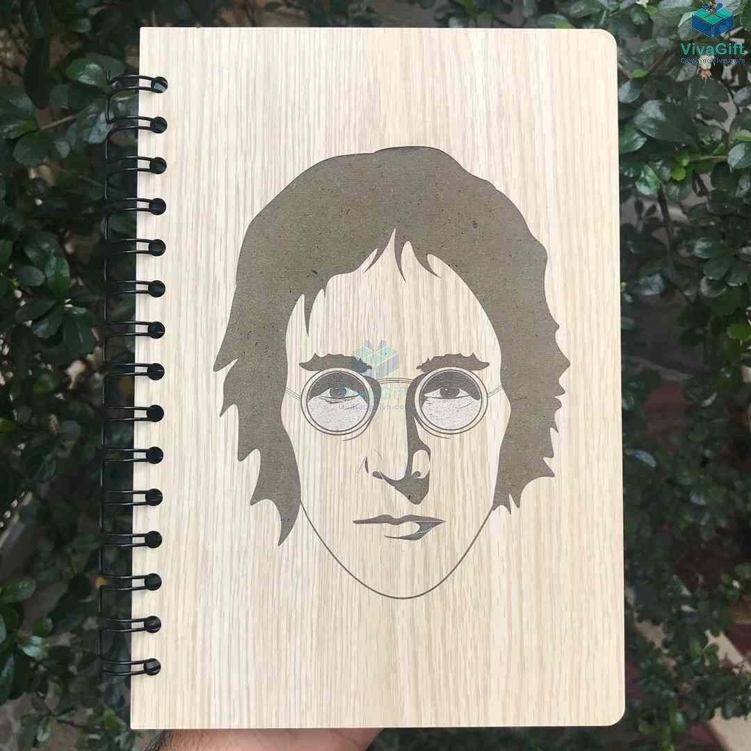 Sổ tay bìa gỗ Khắc hình chân dung