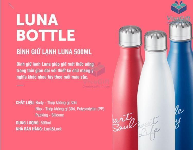 Bình Giữ Nhiệt Lock&Lock Luna Bottle LHC3215 khắc tên