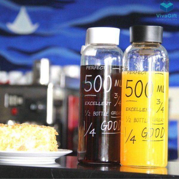 Bình nước nhựa 500ml có quai Q011 in logo công ty