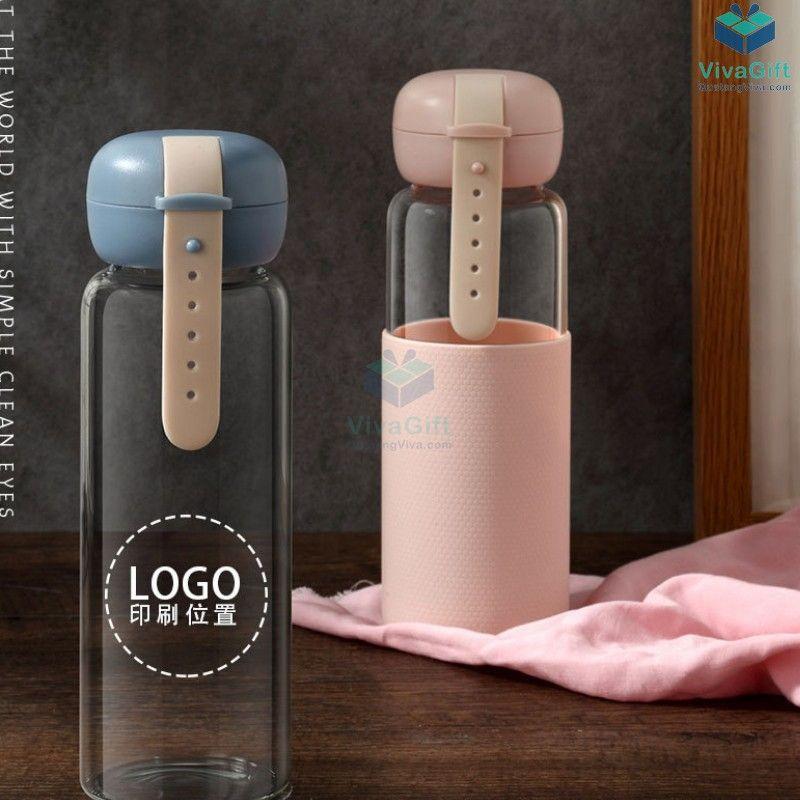 Bình Thuỷ Tinh Vỏ Silicon 350ml Q084 in logo làm quà tặng doanh nghiệp