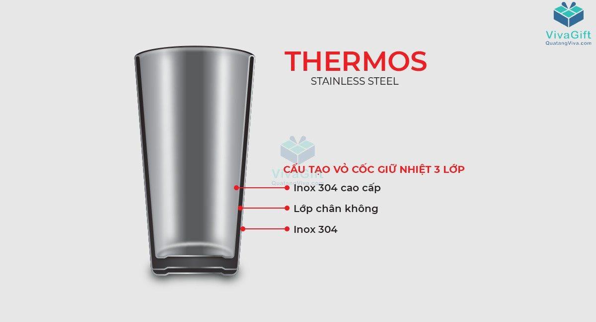 Cốc giữ nhiệt Elmich inox 304 dung tích 890ml EL3677 có quai xách tiện lợi