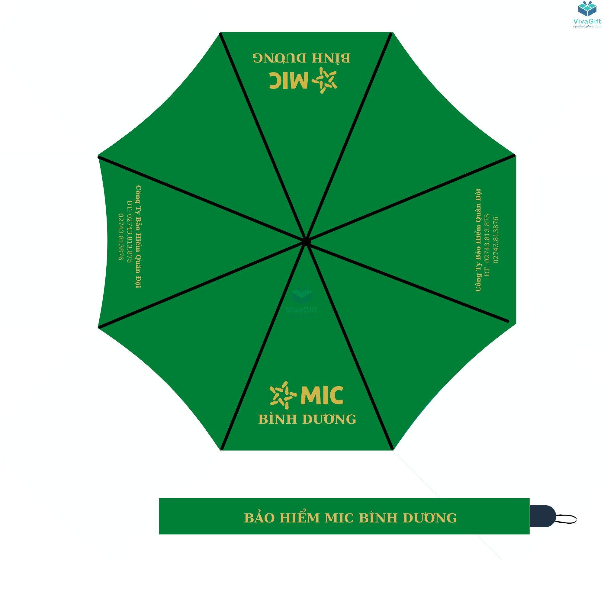 ô dù cầm tay cán dài bán kính 70cm d034