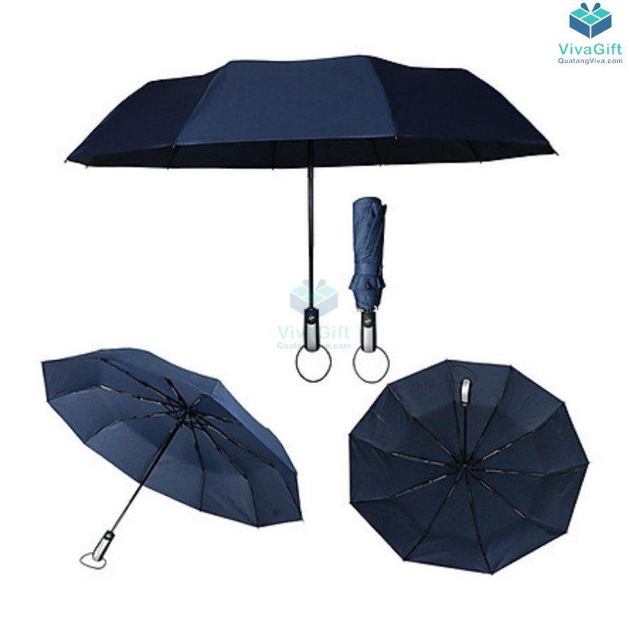 ô dù cầm tay gấp 3 tự động 2 chiều 10 kèo d026 in logo theo yêu cầu