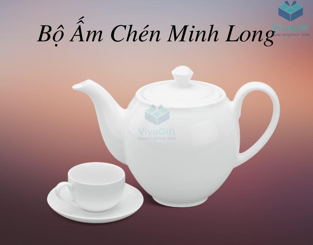Bộ ấm chén Minh Long 0.5 L - Camellia - Trắng 7