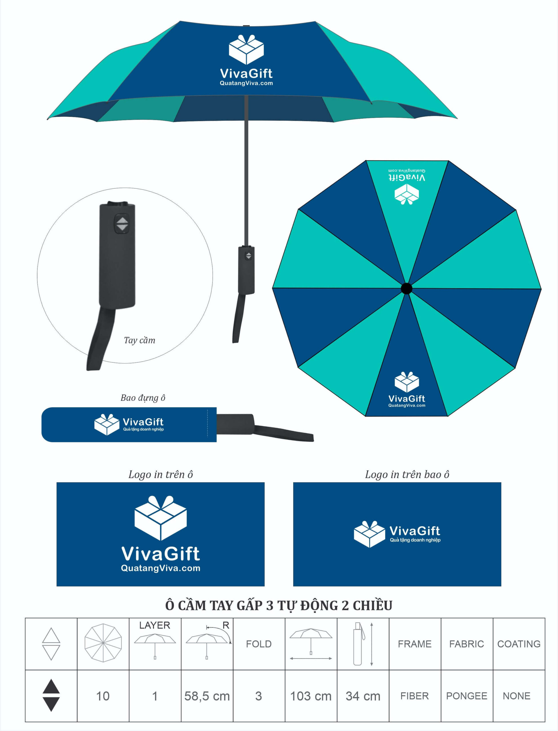 ô dù cầm tay in logo theo yêu cầu